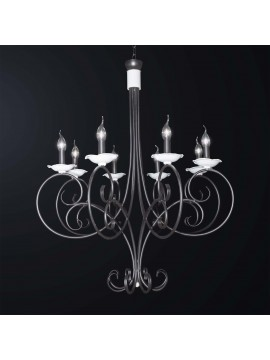 Classic chandelier in black and white wrought iron 8 lights BGA 3065-8