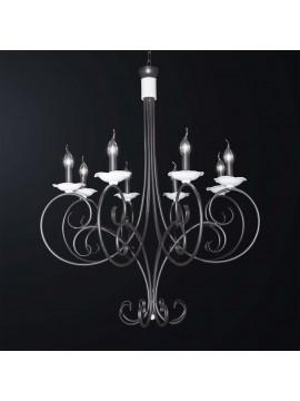 Lampadario classico in ferro battuto nero e bianco 8 luci BGA 3065-8