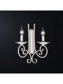 Applique contemporaneo in ferro battuto tortora e bianco 2 luci BGA 3065-ap2
