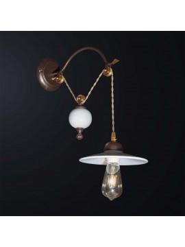 Applique classico rustico con carrucola in ceramica 1 luce BGA 3068-a1