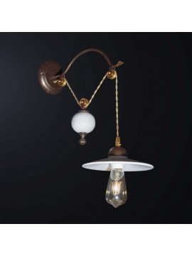 Classic rustic wall light with ceramic pulley 1 light BGA 3068-a1