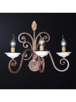 Applique in ferro battuto classico rustico a 3 luci BGA 3072-a3