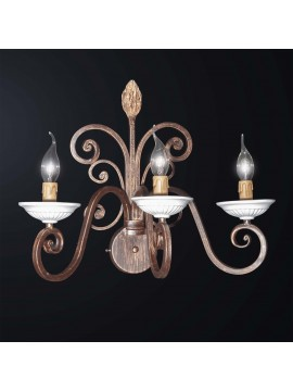 Rustic wrought iron classic wall light with 3 BGA lights 3072-a3