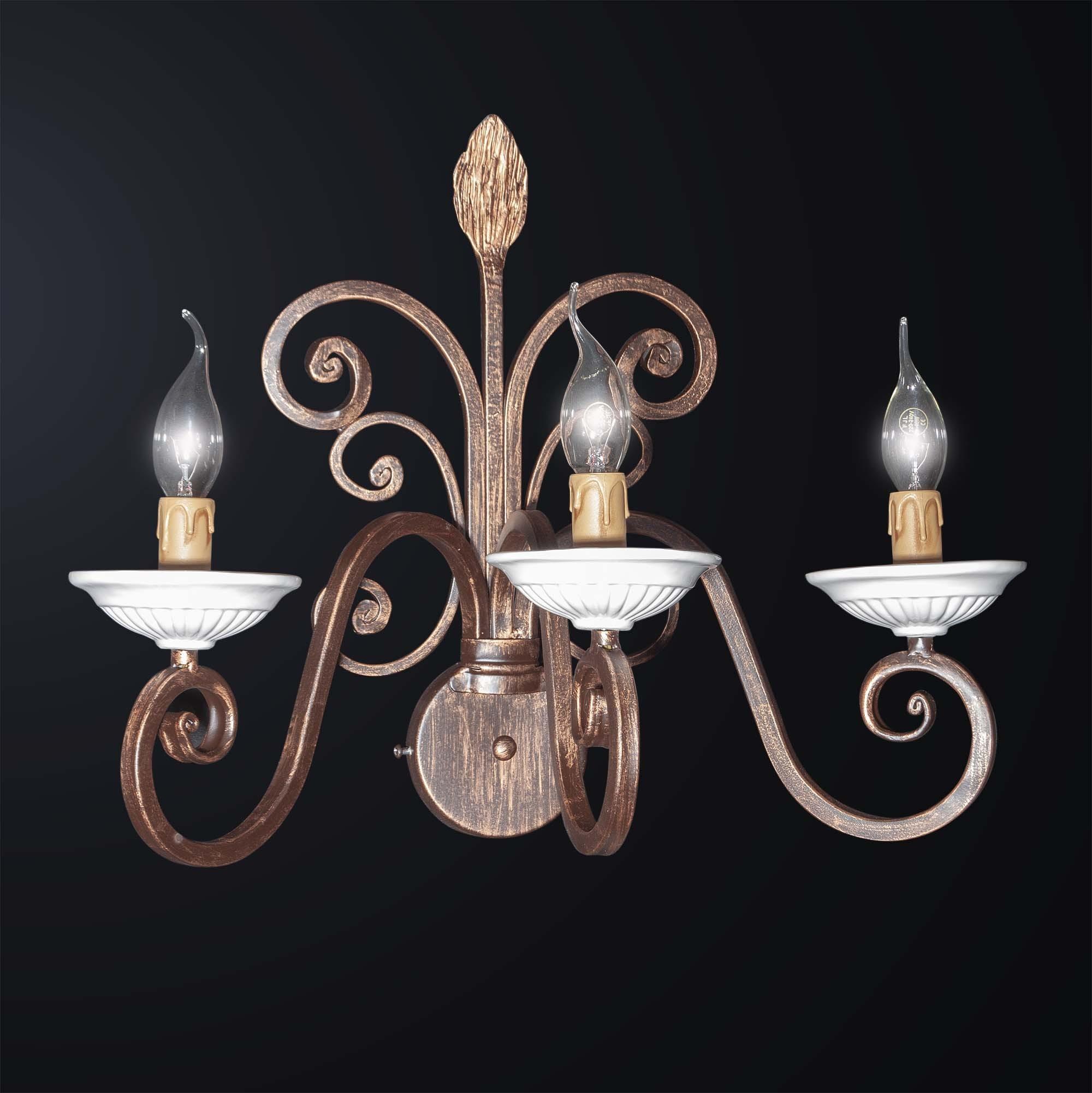 Applique in ferro battuto con ceramica bianca marrone plissettata stile rustico