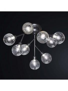 Plafoniera moderna minimal nero sfera vetro 9 luci BGA 3076-pl9
