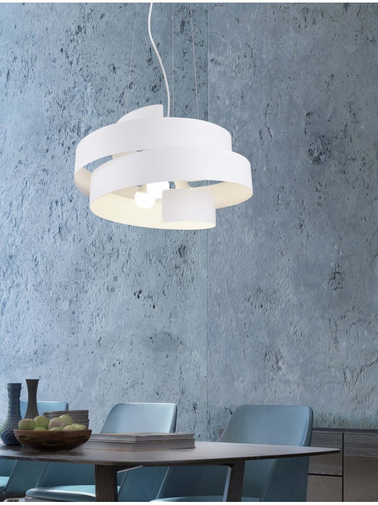 Modern chandelier 3 lights design white trio 307400331 Holly