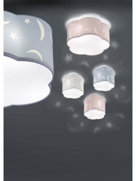 Ceiling lamp for kids' bedroom in white fabric 3 lights trio 602300301 Moony