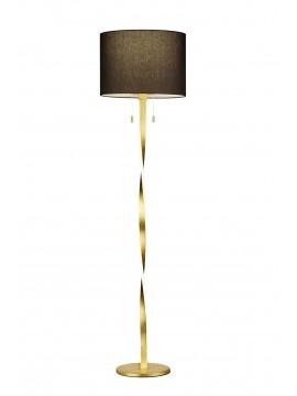 Piantana moderna a led tessuto nero foglia oro trio 475310379 Nandor