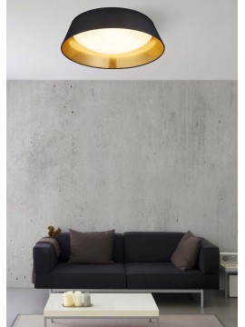 Modern led ceiling lamp in black trio fabric R62871879 Ponts