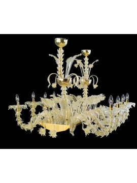 Murano chandelier in Venice 24k gold 8 lights made in italy 8032/8
