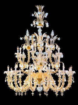 Murano chandelier in Venice 24k gold 20 lights made in italy 8009 12+8