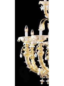 Lampadario murano di venezia oro 24k 20 luci made in italy 8009 12+8