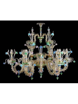 Murano chandelier in Venice 24k gold 12 lights made in italy 8081/12