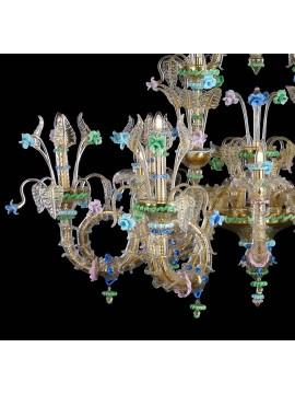 Lampadario murano di venezia oro 24k 12 luci made in italy 8081/12