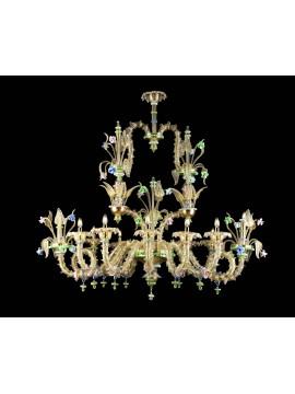 Lampadario murano di venezia oro 24k 12 luci made in italy 8060/12