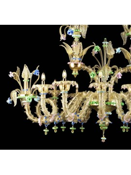 Murano chandelier in Venice 24k gold 12 lights made in italy 8060/12