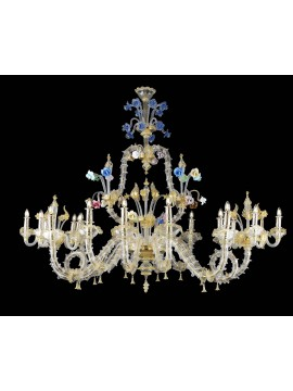 Murano chandelier in Venice 24k gold 20 lights made in italy 8067 10+5+5