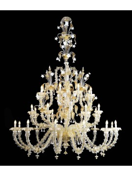 Murano chandelier in Venice 24k gold 28 lights made in italy 8045 12+8+8