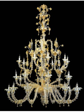 Murano chandelier in Venice 24k gold 28 lights made in italy 6003 12+8+8