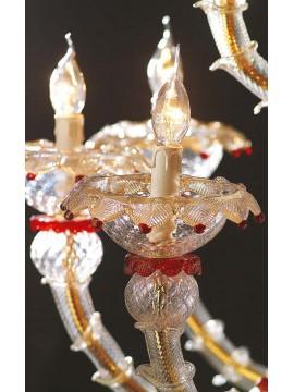 Lampadario murano di venezia oro 24k 28 luci made in italy 6003 12+8+8 rosso