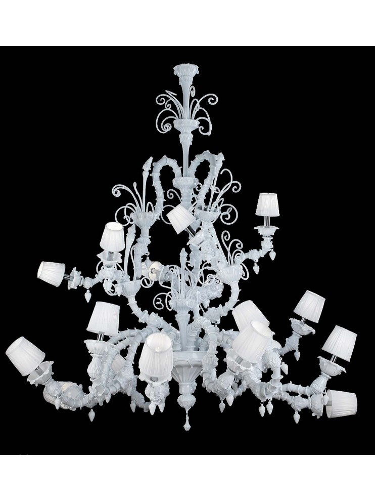 Murano chandelier of modern white Venice 18 lights made in italy 8080 12+6