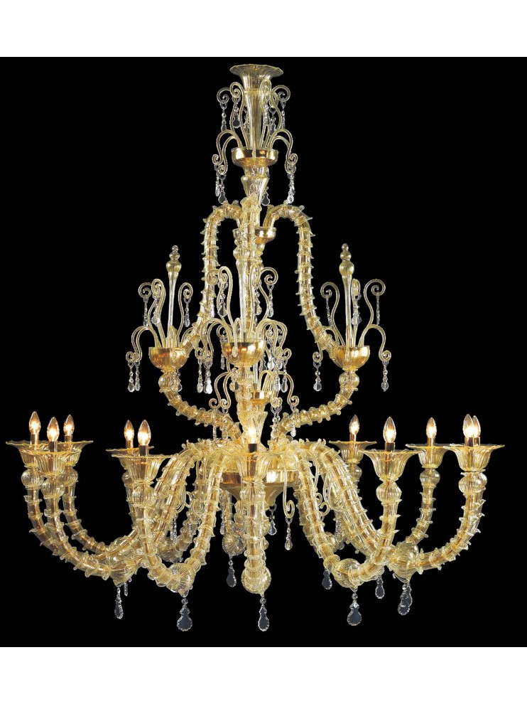 Murano chandelier in Venice 24k gold 12 lights made in italy 7416 12