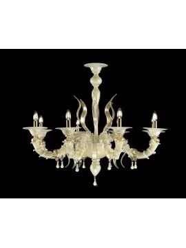 Lampadario murano di venezia oro 24k 8 luci made in italy 8069 8
