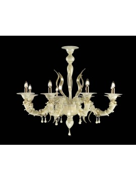 Murano chandelier in Venice 24k gold 8 lights made in italy 8069 8