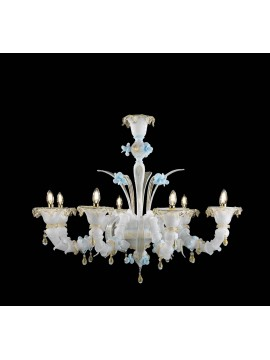 Lampadario murano di venezia bianco oro 24k 8 luci made in italy 8040 8