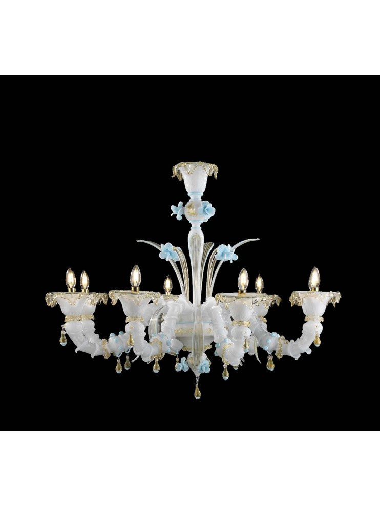 Murano chandelier in white 24k gold 8 lights made in italy 8040 8