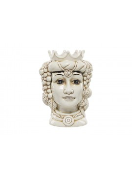 Testa di moro regina in ceramica bianca decorata a mano Harmony H23cm