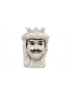 Dark brown King in white ceramic hand-decorated Harmony H23cm