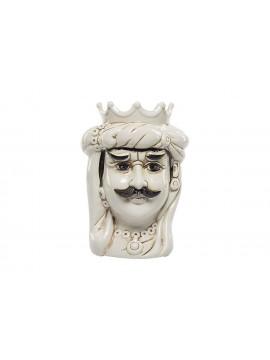 Testa di moro Re in ceramica bianca decorata a mano Harmony H23cm