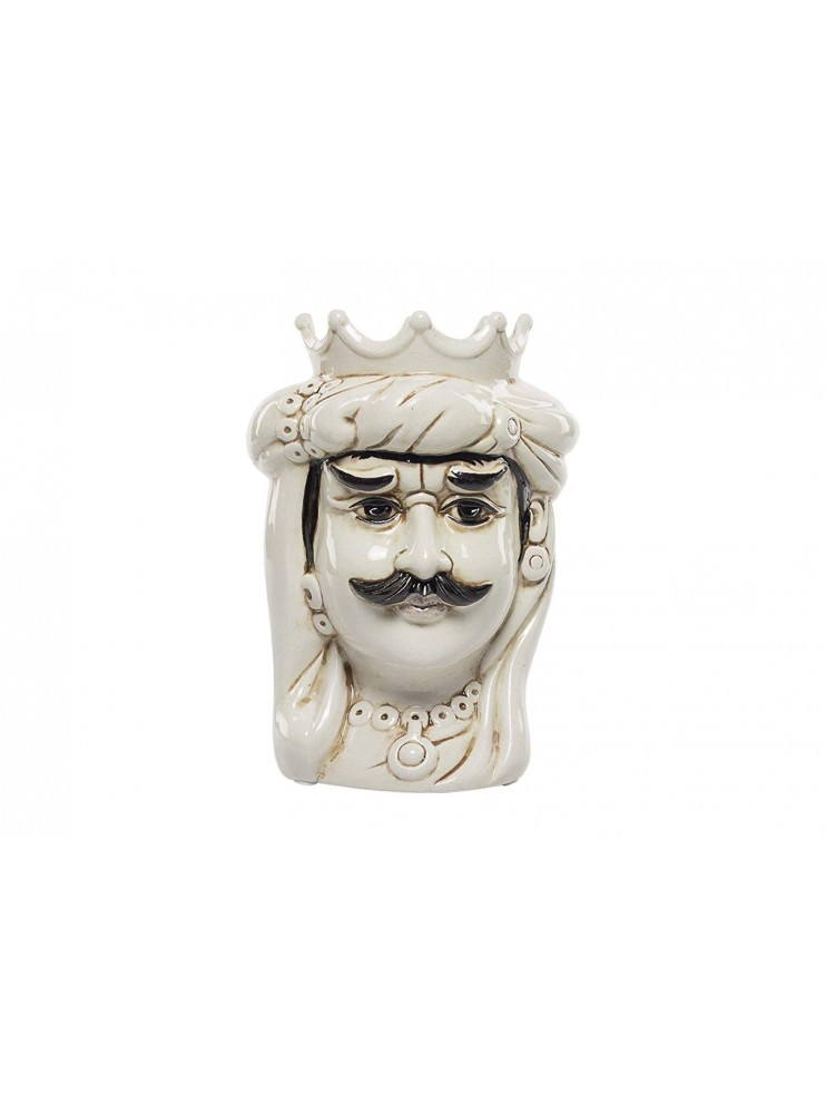 Dark brown King in white ceramic hand-decorated Harmony H23cm