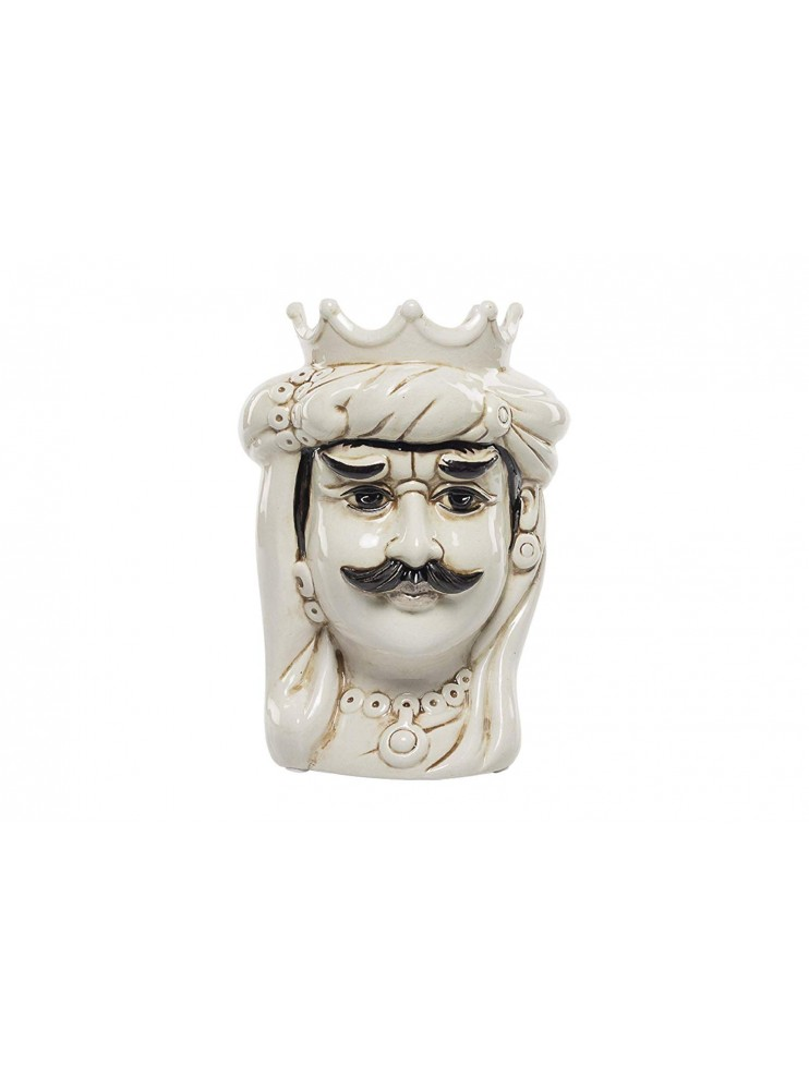 Dark brown King in white ceramic hand-decorated Harmony H30cm
