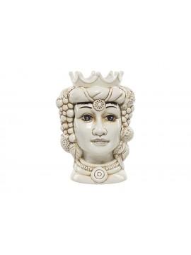 Testa di moro regina in ceramica bianca decorata a mano Harmony H37cm