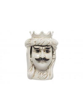 Testa di moro Re in ceramica bianca decorata a mano Harmony H37cm