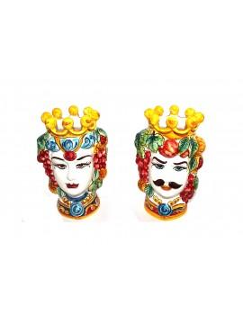 Coppia testa di moro in ceramica siciliana decorata a mano H25cm decoro 01