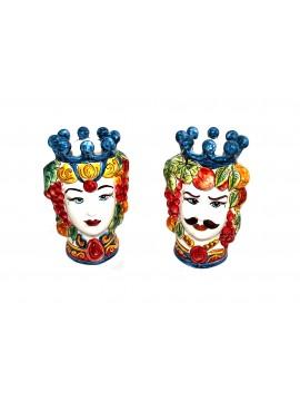 Coppia testa di moro in ceramica siciliana decorata a mano H25cm decoro 02