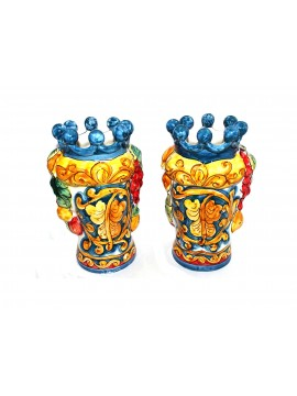 Pair of hand-decorated Sicilian ceramics, hand-decorated H25cm 02