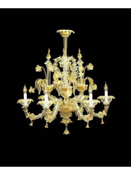 Murano chandelier in Venice 24k gold 6 lights made in italy 7767 6
