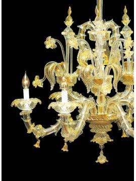 Lampadario murano di venezia oro 24k 6 luci made in italy 7767 6