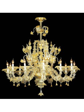 Murano chandelier in Venice 24k gold 12 lights made in italy 7767 12