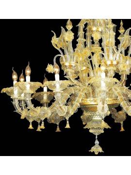 Lampadario murano di venezia oro 24k 12 luci made in italy 7767 12