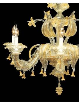 Lampadario murano di venezia oro 24k 6 luci made in italy 7386 6