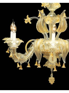 Murano chandelier in Venice 24k gold 6 lights made in italy 7386 6