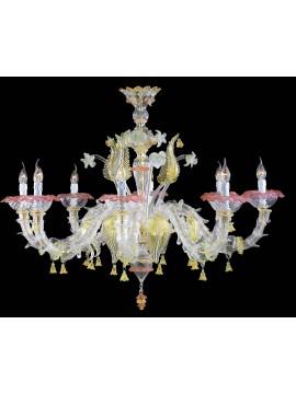 Lampadario murano di venezia oro 24k 8 luci made in italy 7386 8