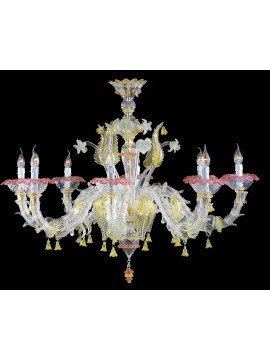 Murano chandelier in Venice 24k gold 8 lights made in italy 7386 8