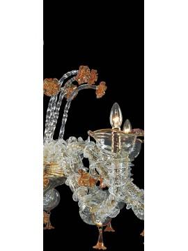 Lampadario murano di venezia ambra 12 luci made in italy 7982 12