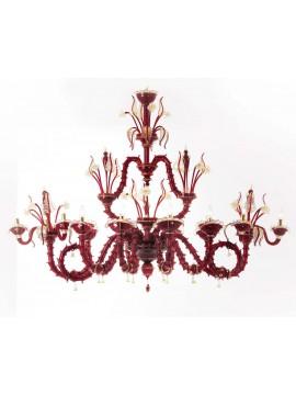 Lampadario murano di venezia rosso moderno 14 luci made in italy 7778 8+3+3